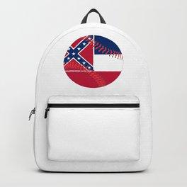 Mississippi Flag Baseball Backpack