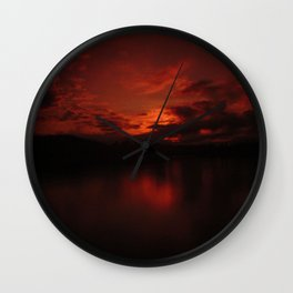 Dark Red Sunset in Montana, Water Reflection, Hues of Red, Sailor's Delight Wall Clock