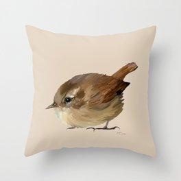 Wren Bird Art Throw Pillow