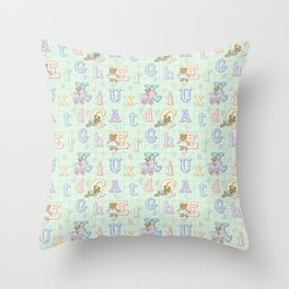 Teddy Bear Alphabet ABC's Green Throw Pillow