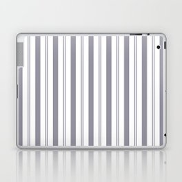 Pantone Lilac Gray & White Wide & Narrow Vertical Lines Stripe Pattern Laptop & iPad Skin