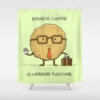 cookie Shower Curtains featuring Fulltime Cookie by Nick Volkert