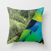 brasil Throw Pillows featuring Brasil Tropical by watermelon