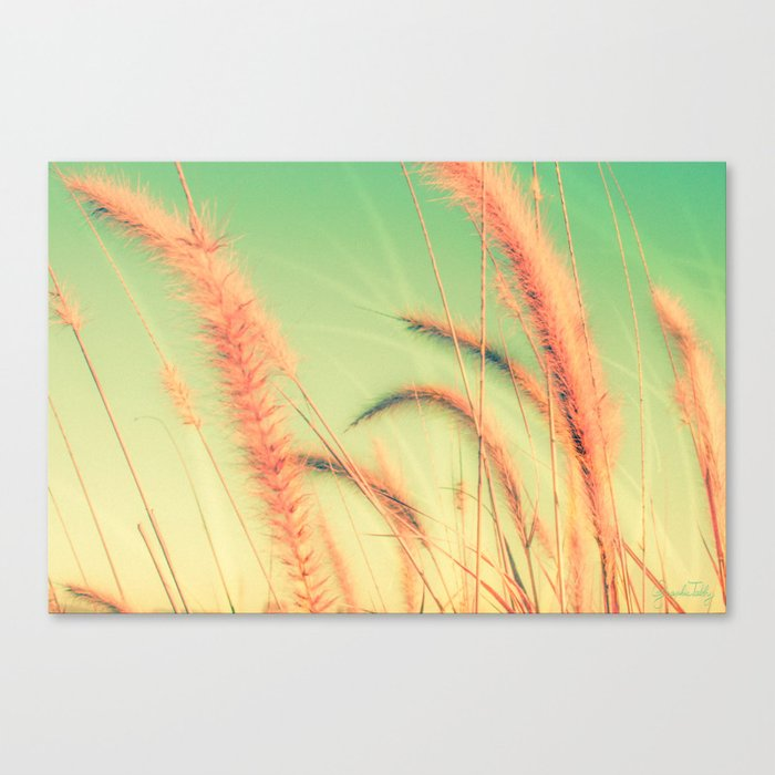 Swing into Spring (Reed Plants with Mint Green Sky Background) Canvas Print