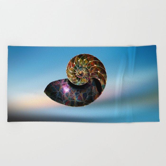 Fossilized Nautilus Shell Beach Towel