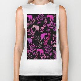 Watercolor Flowers & Elephants III Biker Tank
