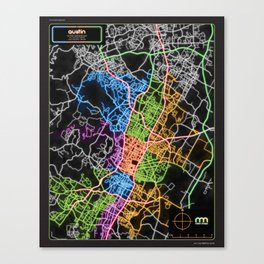 Austin Texas Street Map Poster in Neon Canvas Print