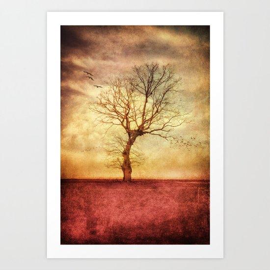 ATMOSPHERIC TREE - The golden sunset Art Print