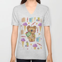 Birthday Boy Bear Cake and Ice Cream Yummy Unisex V-Neck