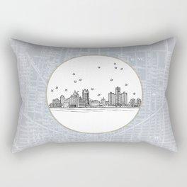 Detroit, Michigan City Skyline Illustration Drawing Rectangular Pillow