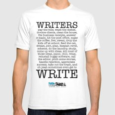 WRITERS WRITE! MEDIUM White Mens Fitted Tee