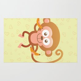 Lovely Baby Monkey Eating Bananas Rug