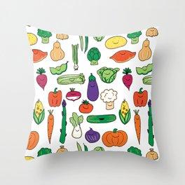 Cute Smiling Happy Veggies on white background Throw Pillow