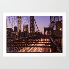 Brooklyn Bridge By Night Art Print