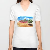 palestine V-neck T-shirts featuring The Traveler by Afif Slim
