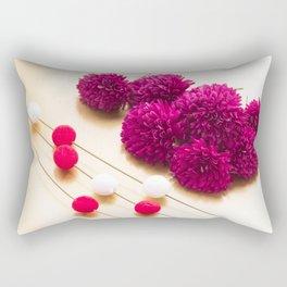 Beautiful red Chrysanthemum flowers for Japanese New Year background image Rectangular Pillow