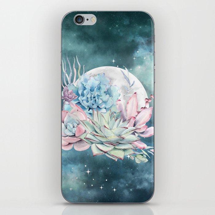 Beautiful Succulents Full Moon Teal Pink iPhone Skin