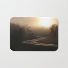 The long and winding misty and moody road Bath Mat