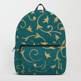 Baroque Design – Gold on Teal Backpack