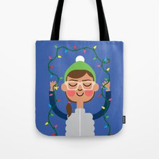 Holiday with Lights Tote Bag