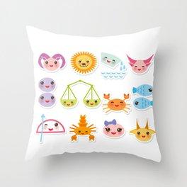 Funny Kawaii zodiac sign, astrological stiker virgo, aries, gemini, cancer, aquarius, taurus,  leo Throw Pillow