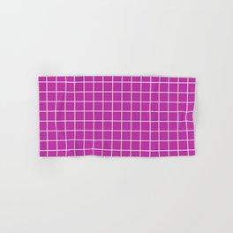 Byzantine - violet color - White Lines Grid Pattern Hand & Bath Towel