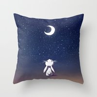 bunny Throw Pillows featuring Moon Bunny by Freeminds