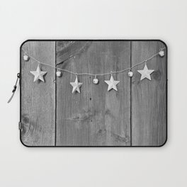 Stars on Wood (Black and White) Laptop Sleeve