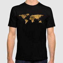 Vintage World Map on Jade Dragon Teal T-shirt