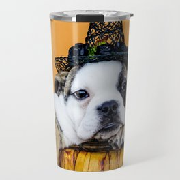 Bulldog Makes Funny Pose in a Pumpkin Basket while Wearing a Witch Hat for Halloween Travel Mug