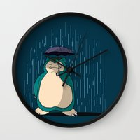 snorlax Wall Clocks featuring My Neighbor Snorlax by EnoLa