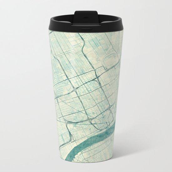 Detroit Map Blue Vintage Metal Travel Mug