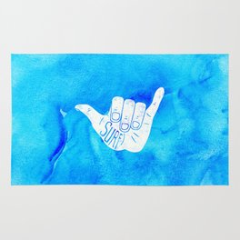 Surf Hang Loose Hawaiian Ocean Blue Hip Watercolor Rug