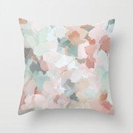 Blush Pink Mint Green Blue Coral Peach Abstract Flower Wall Art Springtime Painting Modern Wall Art Deko-Kissen