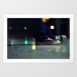 US Flag Shoes American All Star with a Reflection Art Print