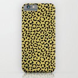 Trendy Black on Faux Gold Leopard Print Pattern iPhone Case