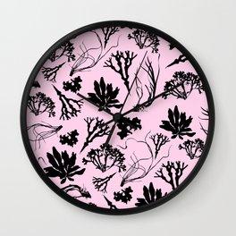 Seaweed Pastel Pink Pattern Wall Clock