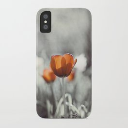Orange Grey Tulip Photography, Burnt Orange Tulip Flowers Photo iPhone Case