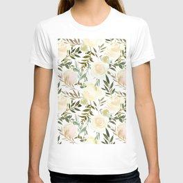 Modern blush yellow pink green watercolor botanical pattern T-shirt