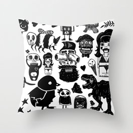 Multi Monsters Throw Pillow
