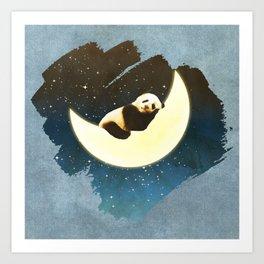 Sleeping Panda on the Moon Art Print