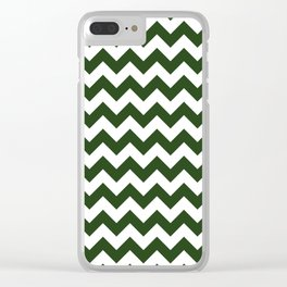 Large Dark Forest Green and White Chevron Stripe Pattern Clear iPhone Case