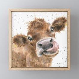 Face baby cattle Framed Mini Art Print
