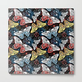 Beautiful graphic illustration of colorful butterflies Metal Print