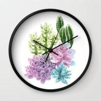 succulents Wall Clocks featuring Succulents by Megan Alcock