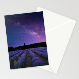 Milky Way over Lavender Fields Photographic Landscape Stationery Cards