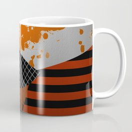 Metallic Pieces - Rustic, Abstract, metallic, textured black, white and gold artwork Coffee Mug