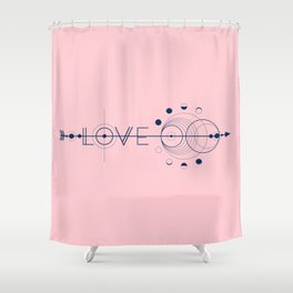 Love Cosmic Arrow Shower Curtain