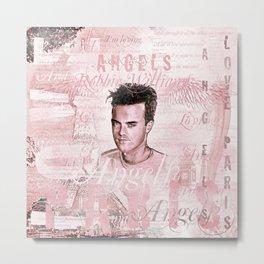 Robbie Angels Vintage Design In Pink Metal Print