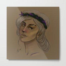 Lady with Lavender Crown Metal Print